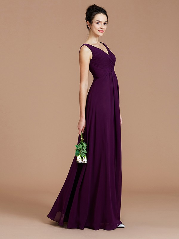 Dancing Queen Princess Style V-neck With Ruched Floor-Length Chiffon Bridesmaid Dresses