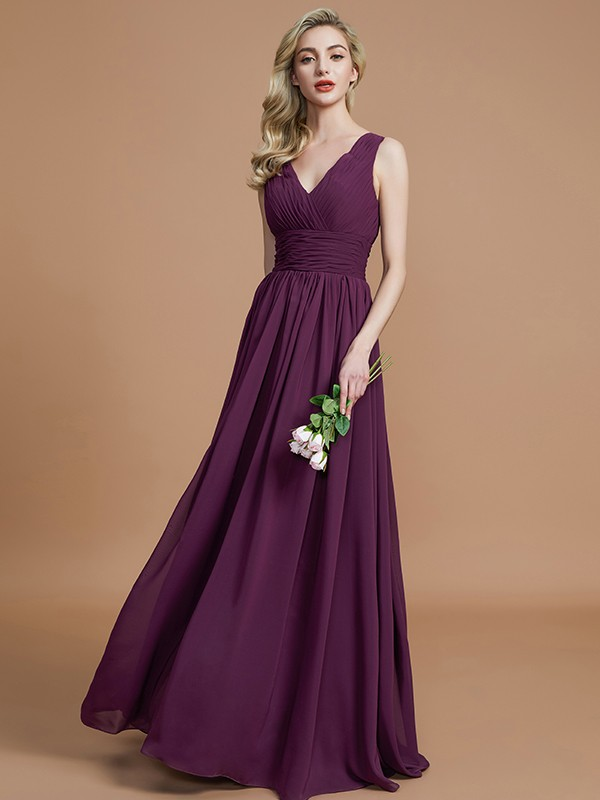 Limitless Looks Princess Style V-neck Floor-Length Chiffon Bridesmaid Dresses