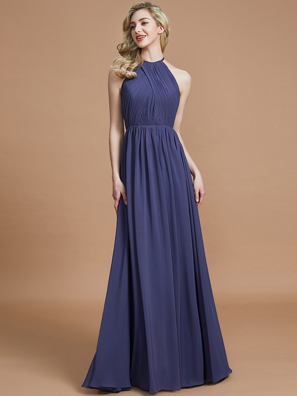 Desired Spotlight Princess Style Scoop Chiffon Floor-Length Bridesmaid Dresses