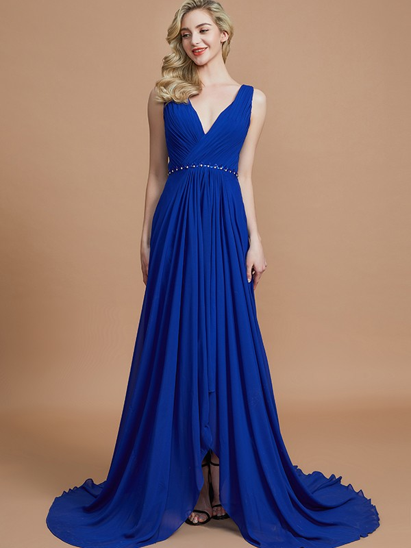 Comfortably Chic Princess Style V-neck Chiffon Sweep/Brush Train Bridesmaid Dresses