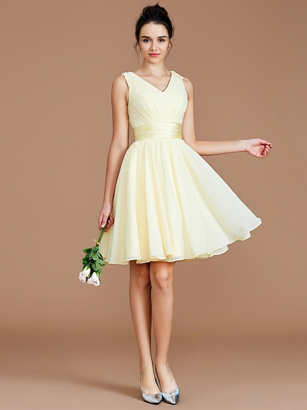 Yours Truly Princess Style V-neck With Sash/Ribbon/Belt Short/Mini Chiffon Bridesmaid Dresses