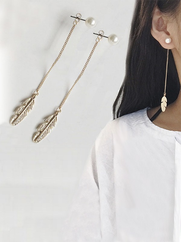 Ladies's Vintage Long Chain Leaf With Pearl Earrings