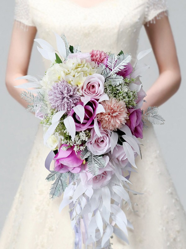 Colorful Cascade Silk Flower Bridal Bouquets