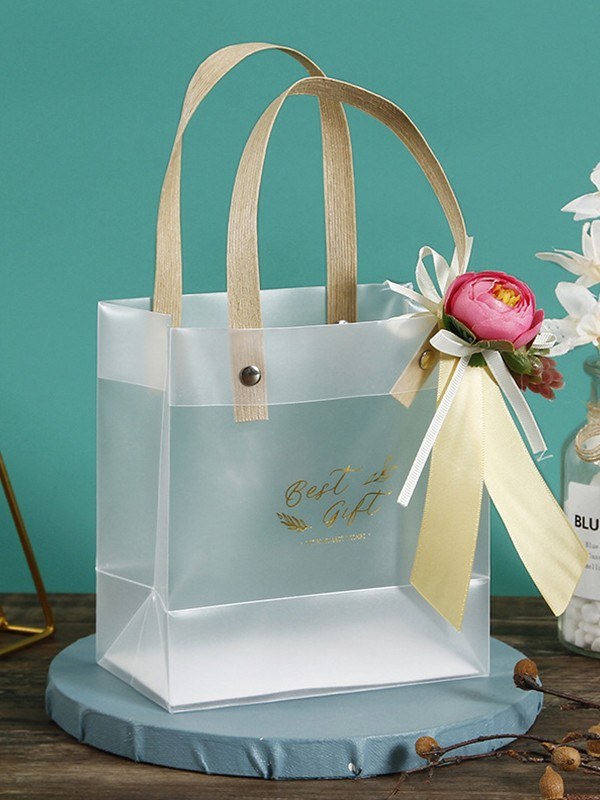 Exquisite PVC With Flower Gift Bags