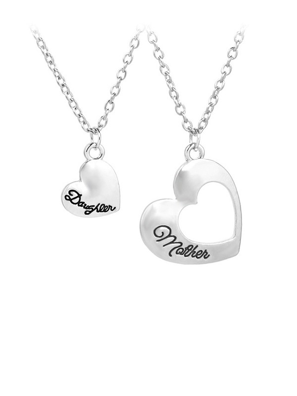 Lovely Alloy With Heart Necklaces For Mother And Daughter