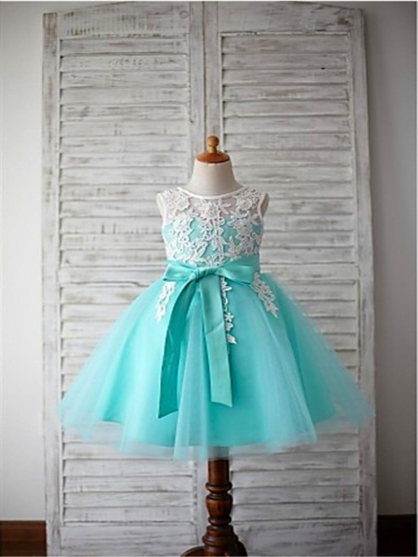 Ball Gown Scoop Sleeveless Bowknot Floor-Length Tulle Flower Girl Dresses