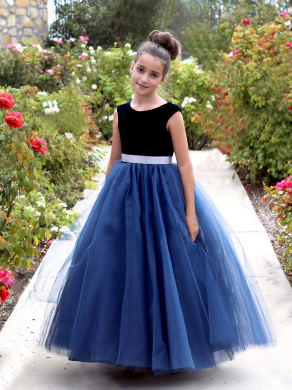 Glitz the Spot Princess Style Scoop Ankle-Length Sash/Ribbon/Belt Tulle Flower Girl Dresses