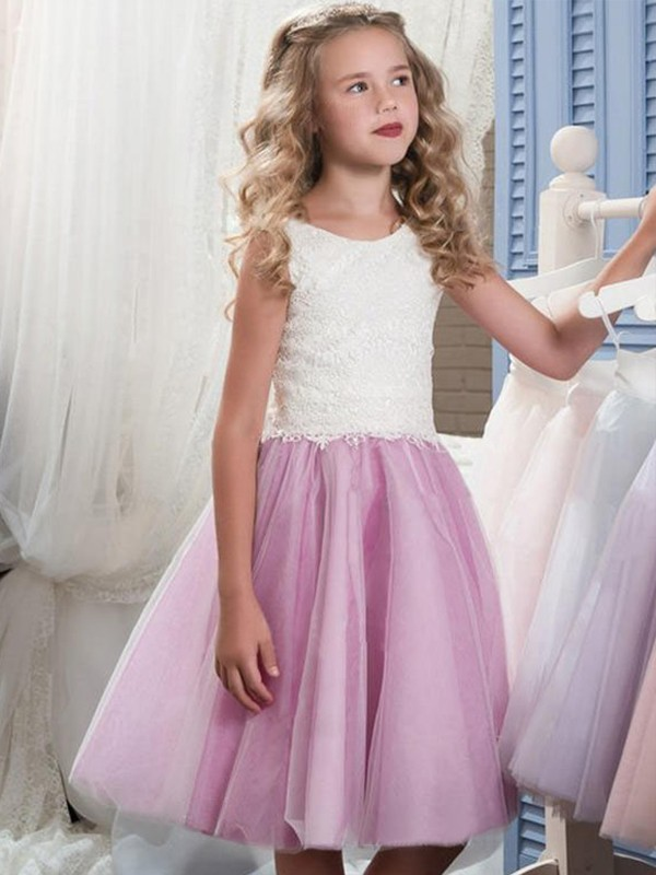 Pretty Looks Princess Style Scoop Knee-Length Lace Tulle Flower Girl Dresses