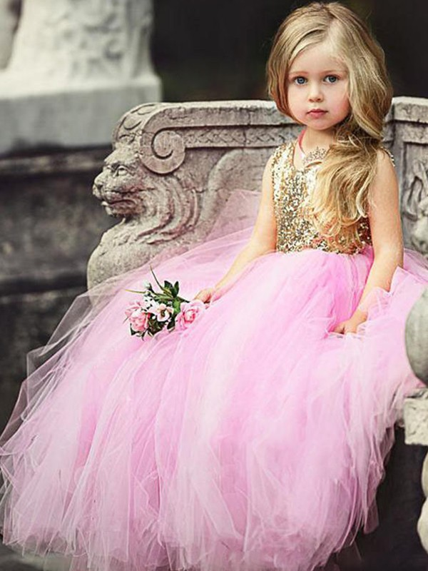 Confident Option Ball Gown Scoop Floor-Length Sequin Tulle Flower Girl Dresses