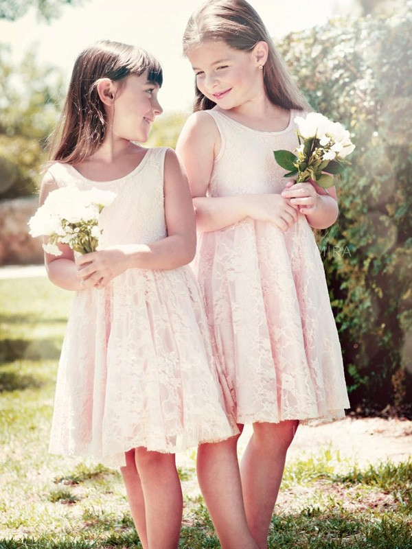 Fabulous Fit Princess Style Scoop Knee-Length Ruffles Lace Flower Girl Dresses