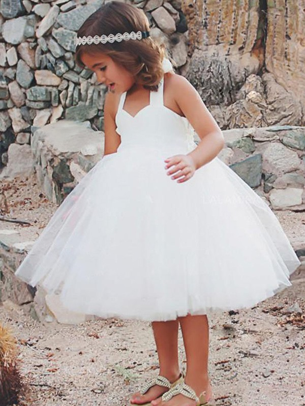 Cheerful Spirit Princess Style Halter Tea-Length Ruffles Tulle Flower Girl Dresses