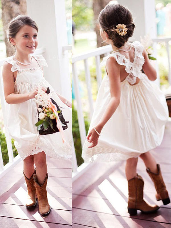 Yours Truly Princess Style Square Knee-Length Lace Chiffon Flower Girl Dresses