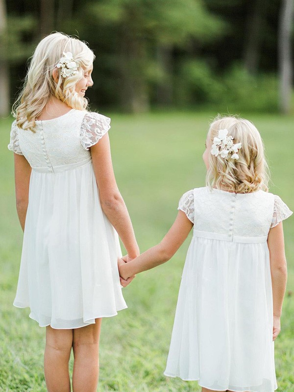 Beautiful You Princess Style Scoop Knee-Length Lace Chiffon Flower Girl Dresses