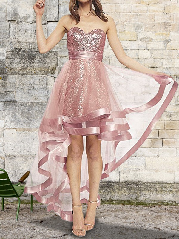 Visual Moment Princess Style Sweetheart Asymmetrical Sequin Organza Dresses