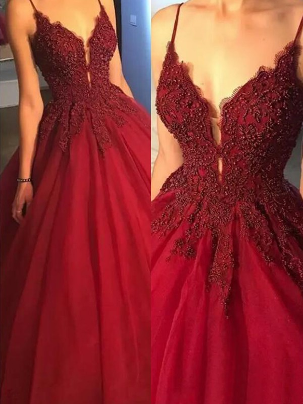 Lively Identity Ball Gown Spaghetti Straps Sweep/Brush Train Applique Tulle Dresses