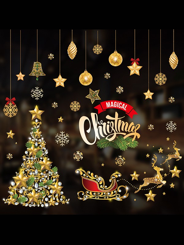 Christmas Awesome PVC Static Stickers