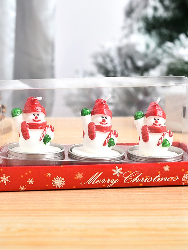 Christmas Gorgeous White Wax With Snowman Candles