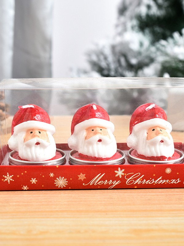 Christmas Unique White Wax With Santa Claus Candles