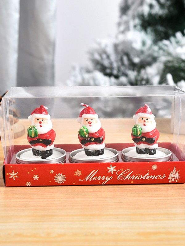 Christmas Pretty White Wax With Santa Claus Candles