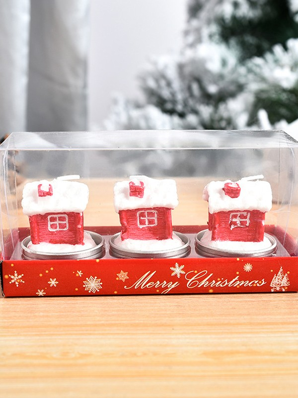 Christmas Beautiful White Wax With House Candles