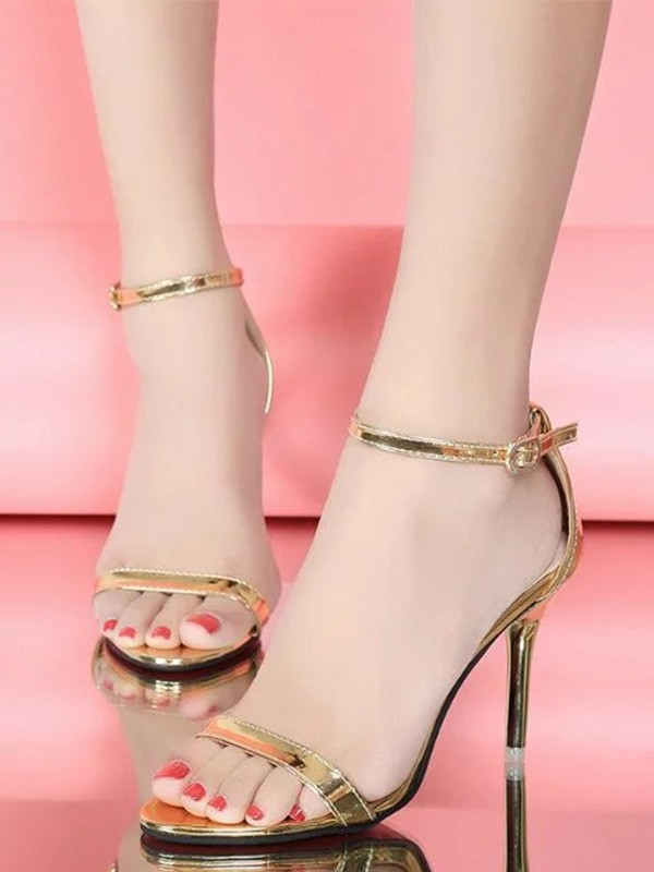 Women's Patent Leather Stiletto Heel Peep Toe Sandals