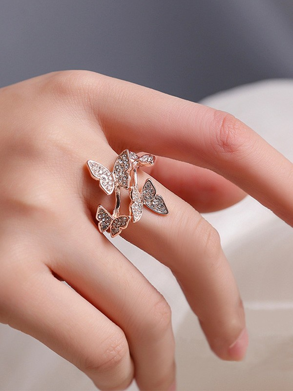 Fashion Alloy With Butterfly Adjustable Rings