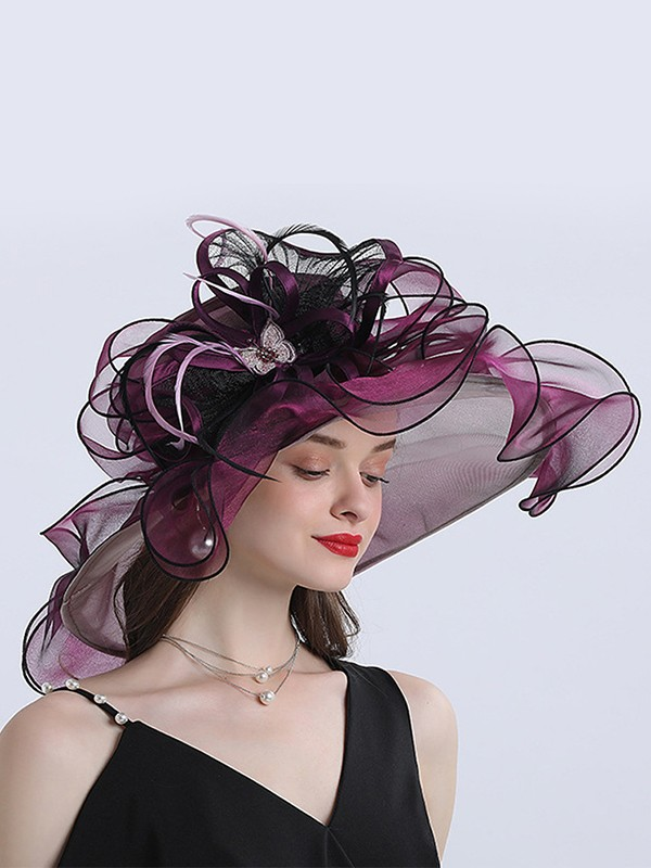 Ladies' Awesome Organza With Flower Floppy Hats/Beach/Sun Hats/Kentucky Derby Hats