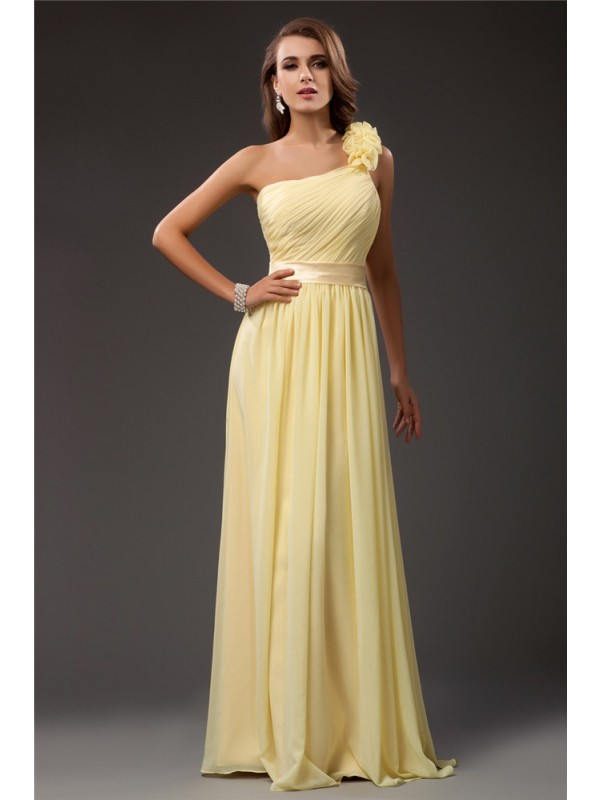 Visual Moment Sheath Style One Shoulder Ruffles Long Chiffon Dresses