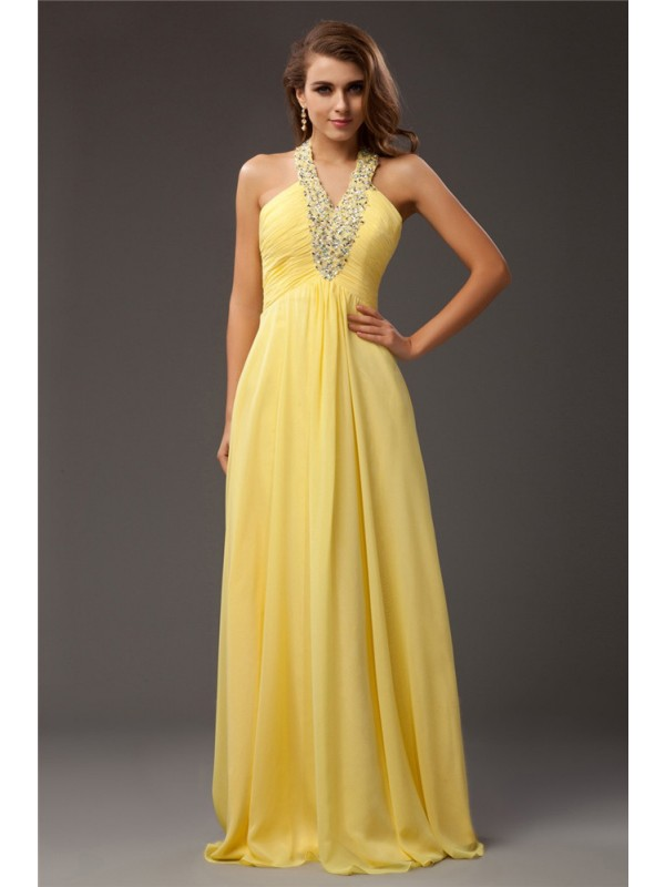 Festive Self Sheath Style Halter Beading Long Chiffon Dresses