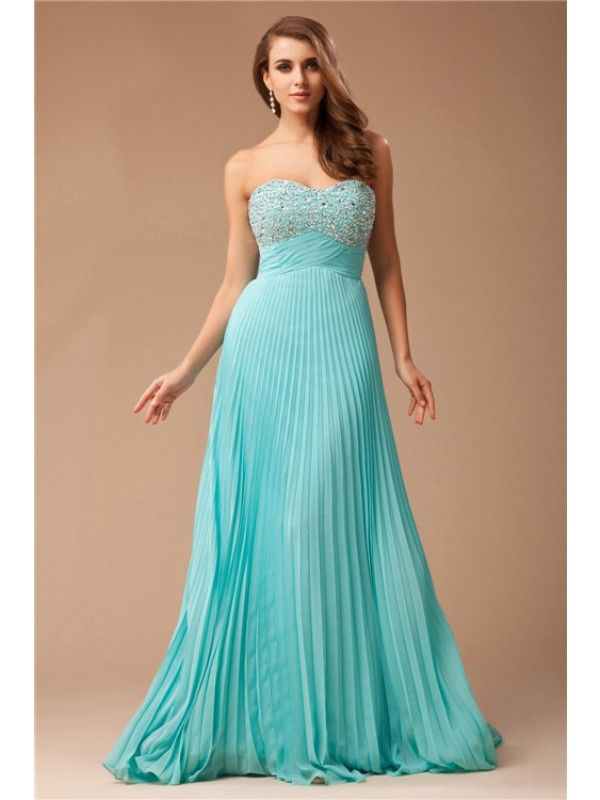 Cheerful Spirit Empire Sweetheart Long Chiffon Beading Dresses