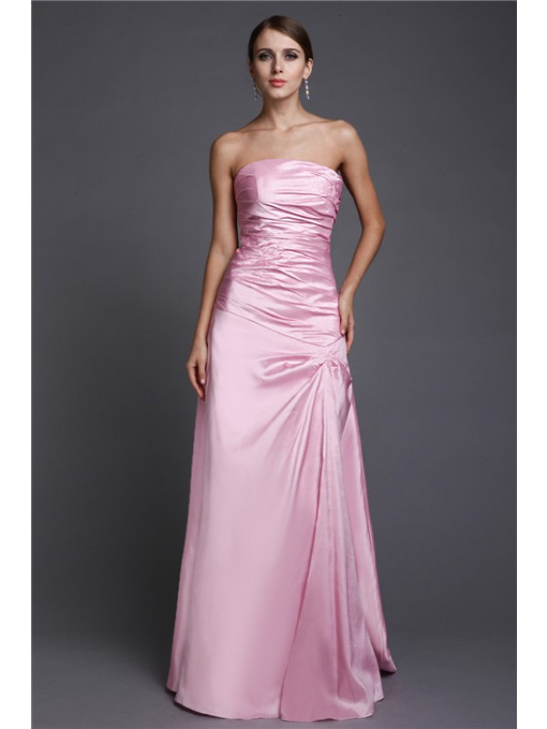 Too Much Fun Princess Style Strapless Long Beading Elastic Woven Satin Dresses