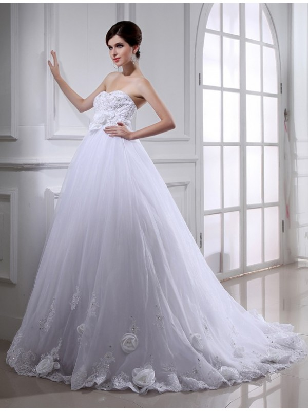 Defined Shine Ball Gown Beading Hand-made Flower Strapless Long Organza Wedding Dresses