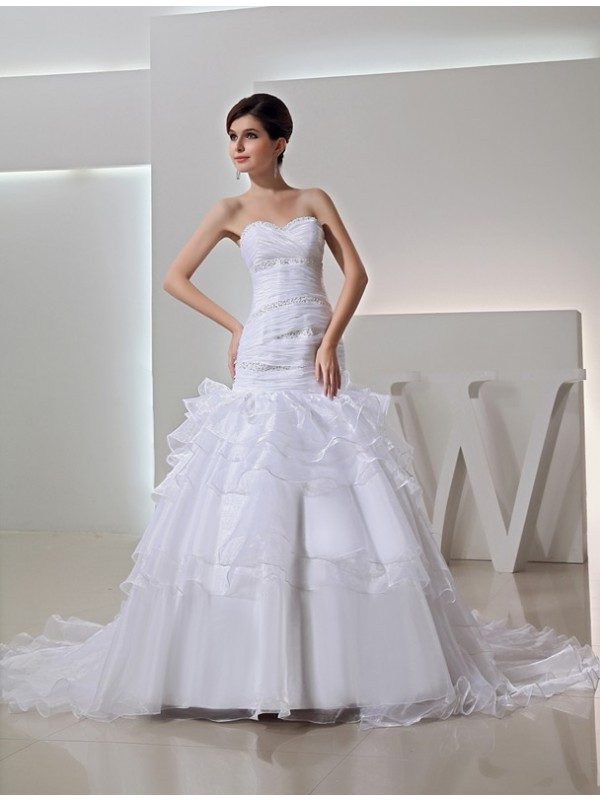 Absolute Lovely Mermaid Style Beading Sweetheart Long Organza Wedding Dresses
