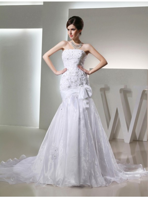 Chic Chic London Mermaid Style Beading Long Strapless Organza Wedding Dresses