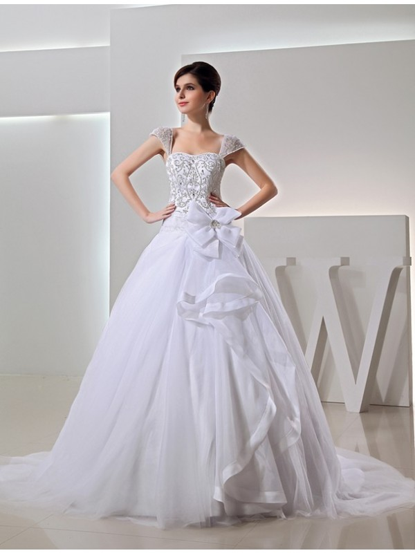 Creative Courage Beading Long Ball Gown Embroidery Organza Bowknot Wedding Dresses