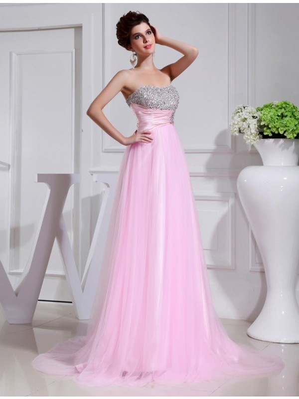 Open to Adoration Princess Style Beading Elastic Woven Satin Tulle Dresses
