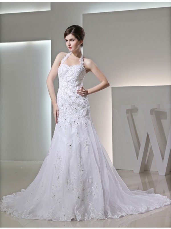 Automatic Classic Mermaid Style Beading Halter Applique Satin Wedding Dresses
