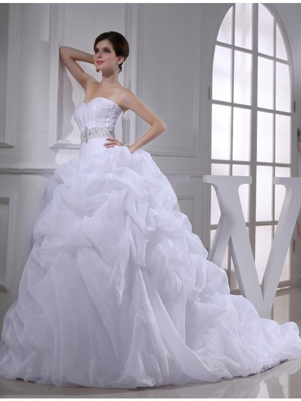Dancing Queen Ball Gown Beading Sweetheart Long Organza Wedding Dresses