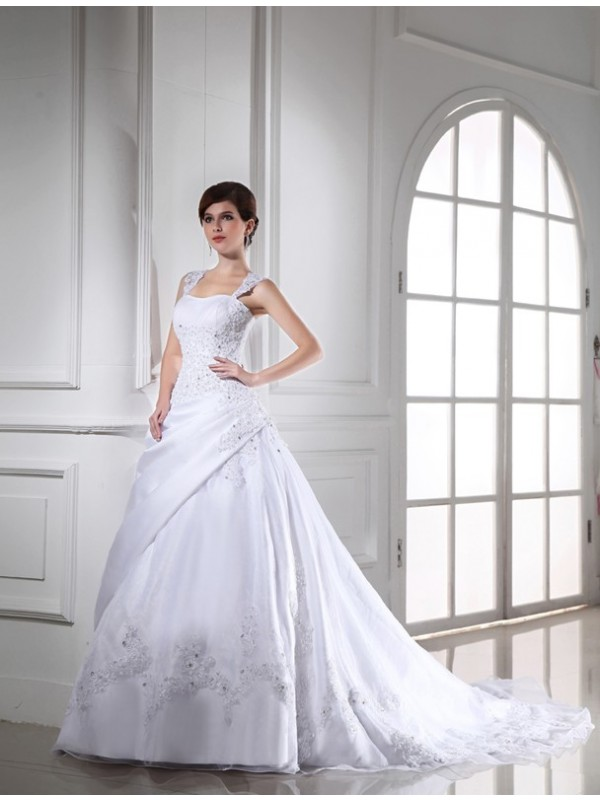 Lively Identity Ball Gown Beading Long Satin Organza Wedding Dresses