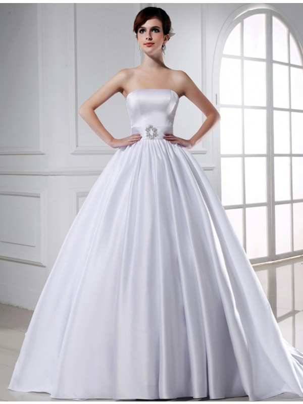 Romantic Vibes Ball Gown Beading Strapless Long Satin Wedding Dresses