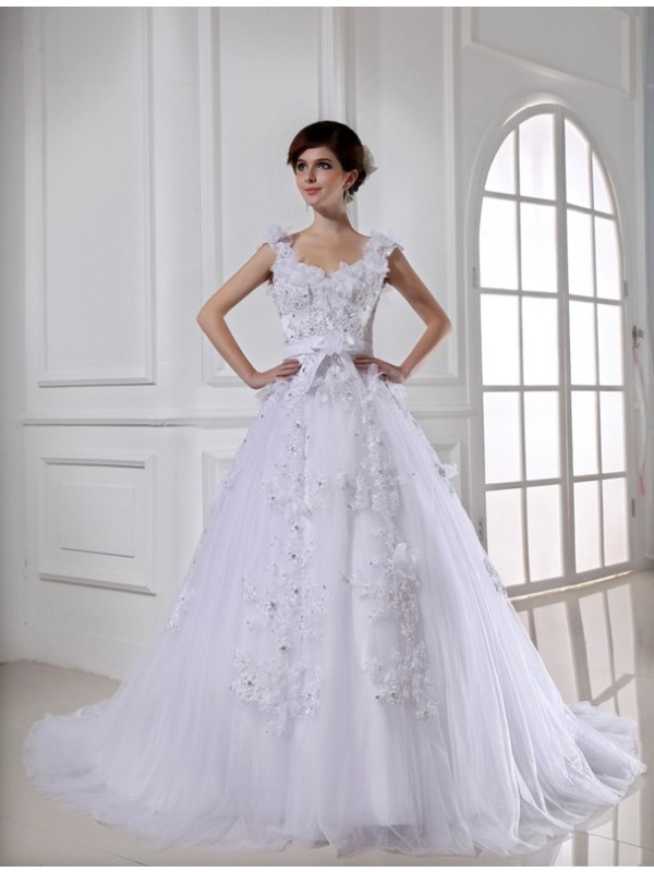Savor the Occasion Ball Gown Beading Long Satin Tulle Strapless Wedding Dresses