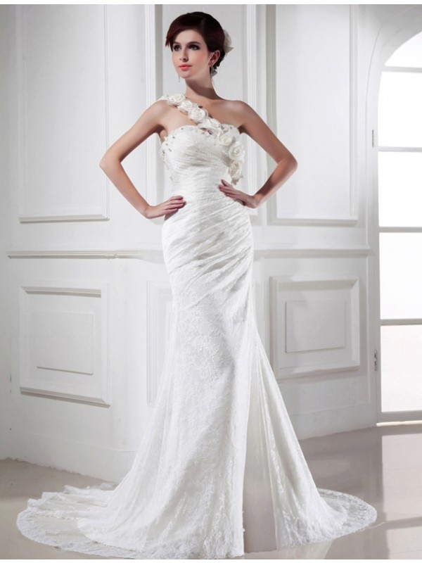 Absolute Lovely Mermaid Style Beading One-shoulder Lace Satin Long Wedding Dresses