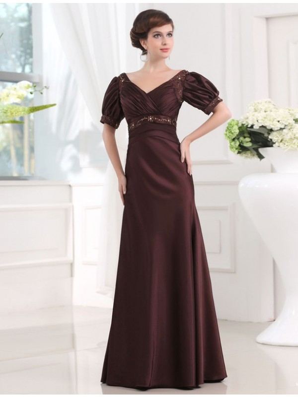 Naturally Chic Sheath Style Beading V-neck Long Satin Dresses