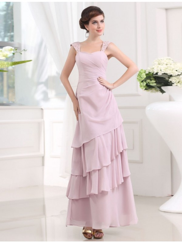 Embracing Grace Princess Style Beading Straps Layered Chiffon Long Dresses