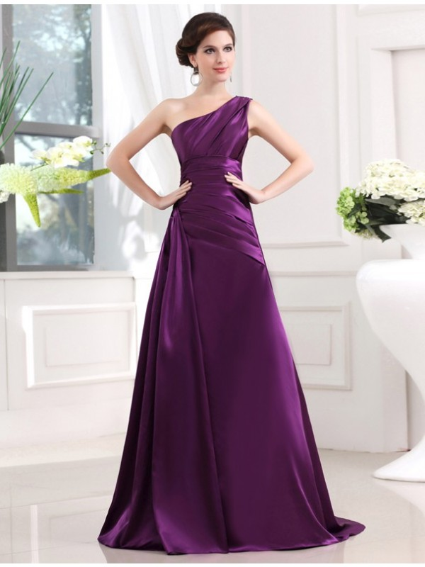 Befits Your Brilliance Princess Style One-shoulder Elastic Woven Satin Pleats Long Dresses