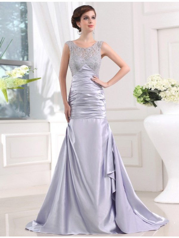 Glitz the Spot Mermaid Style Beading Elastic Woven Satin Long Dresses