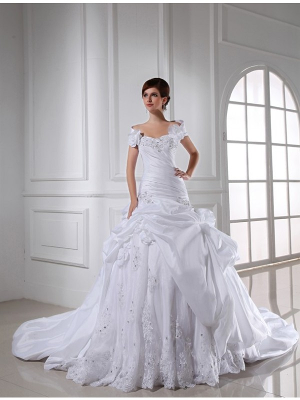Automatic Classic Beading Sweetheart Long Taffeta Wedding Dresses