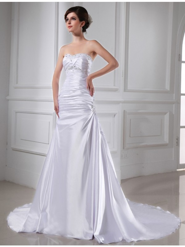 Cordially Delighted Princess Style Beading Applique Elastic Woven Satin Wedding Dresses
