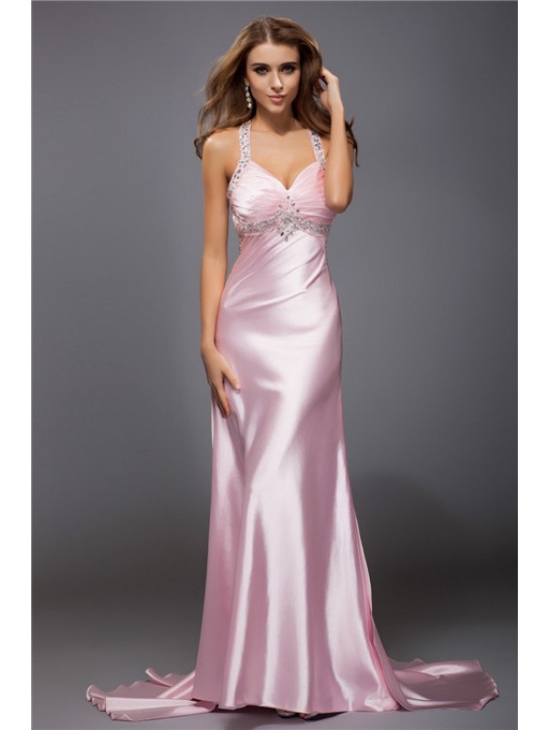 Chic Chic London Sheath Style Spaghetti Straps Beading Long Elastic Woven Satin Dresses