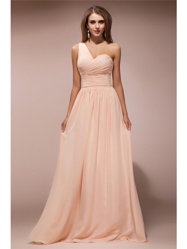 Just My Style Sheath Style One-Shoulder Ruffles Long Chiffon Dresses